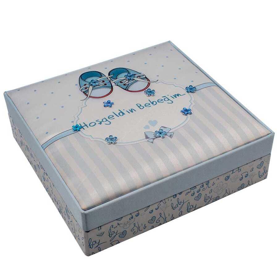 Hoşgeldin Bebeğim Mavi Kare Kutu Lokum 430 g